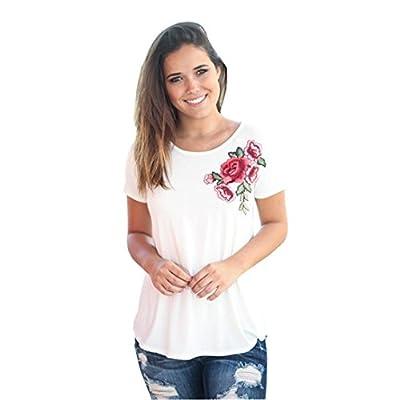 Rose Print T Shirt,BeautyVan Fashion Design Womens Summer Appliques Rose Splice Printing Round Neck Pullover Blouse T Shirt