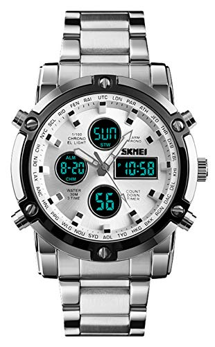 (Stainless Steel Strap Outdoor Sport Watch Analog Digital LED Dual Time Display Mens Watch Sliver)