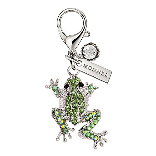 MC43 New Arrival Cute Green Crystal Frog Animal Lobster Clasp Charms Pendants with Pouch Bag (1 Piece)
