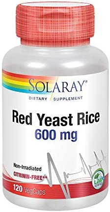 Solaray Red Yeast Rice 600mg Healthy Heart Cardiovascular System Support Non-Irradiated Citrinin-Free Lab Verified 120 VegCaps