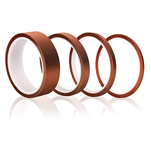 OO 4 Pack Polyimide High Temperature Resistant Tape Multi-Sized Value Bundle 1/8'', 1/4'', 1/2'', 1'' with Silicone Adhesive for Masking, Soldering etc. ()