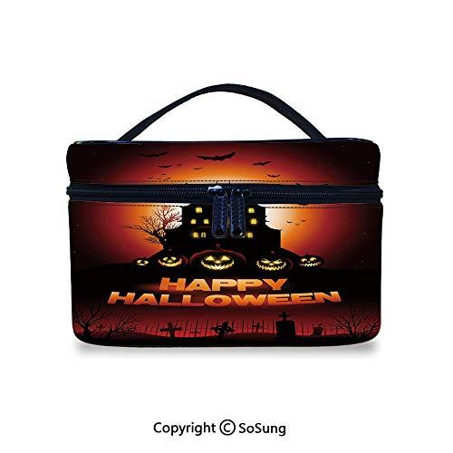 Halloween Cute Cosmetic Bag Happy Halloween Haunted House Flying Bats Scary Looking Pumpkins Cemetery DecorativePortable Artist Storage Bag,9.8x7.1x5.9inch,Black Orange Red