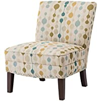 Contemporary Beige Neutral Modern Circle Print Upholstered Armless Accent Chair with Nailhead Trim and Dark Wood Legs - Includes ModHaus Living Pen