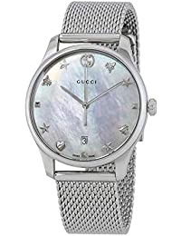 21a4454246c G-Timeless Mother of Pearl Dial Ladies Mesh Watch YA1264040. Gucci