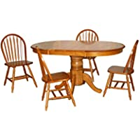 TMS 5 Piece Farmhouse Dining Set, Oak