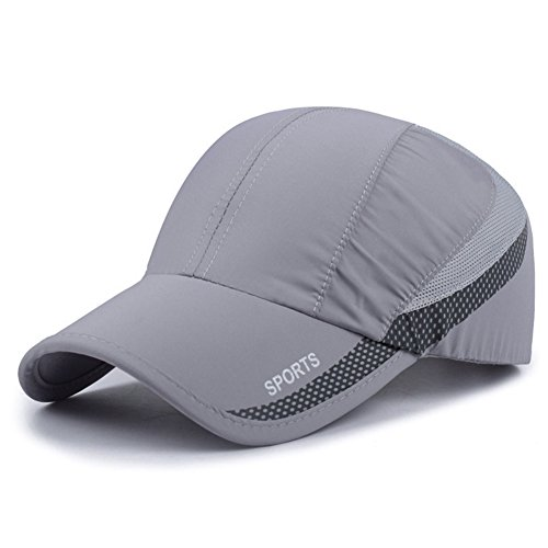 Lightweight Hat - HH HOFNEN Quick Drying Lightweight Baseball Cap Outdoor Airy Mesh UV Protection Sun Hats (A033-Light Grey)
