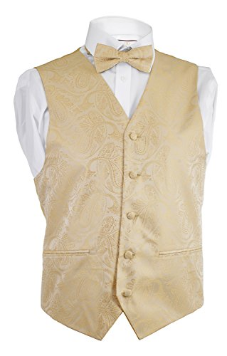 Alberto Cardinali Men's Dress Vest Paisley 4 Piece Set Vest Neck Tie Hanky Bow Tie Matching For Suit or Tuxedo (Gold, Large) by Alberto Cardinali (Image #3)