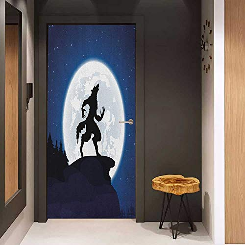 Onefzc Wood Door Sticker Wolf Full Moon Night Sky Growling Werewolf Mythical Creature in Woods Halloween Easy-to-Clean, Durable W36 x H79 Dark Blue Black White]()