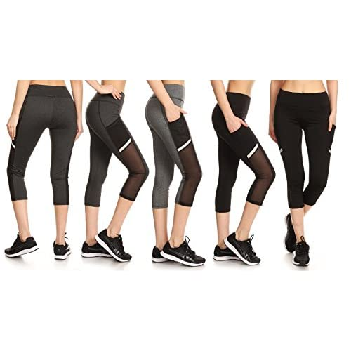 Nice EAG 3-Pack Women's High Waist Mesh-Panel Active Capris With Pockets