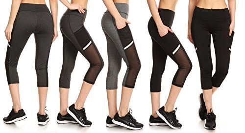 EAG 3-Pack Women's High Waist Mesh-Panel Active Capris With Pockets (Black, Heather Grey, Charcoal, Large)