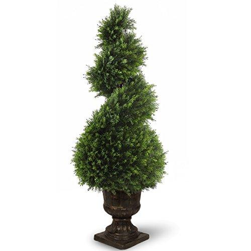 National Tree 48 Inch Juniper Spiral Tree in Decorative Urn (LCYSP4-707-48) Juniper Spiral Topiary