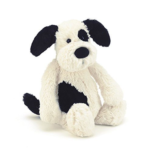 Jellycat Bashful Black and Cream Puppy, Medium, 12 inches