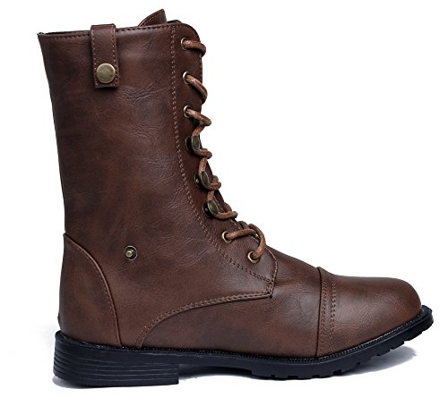 Baja Nudo Bajo Shoes Marrón Botas Mujer con Caña Cordones Tacón Suede AgeeMi 7wUHqAw