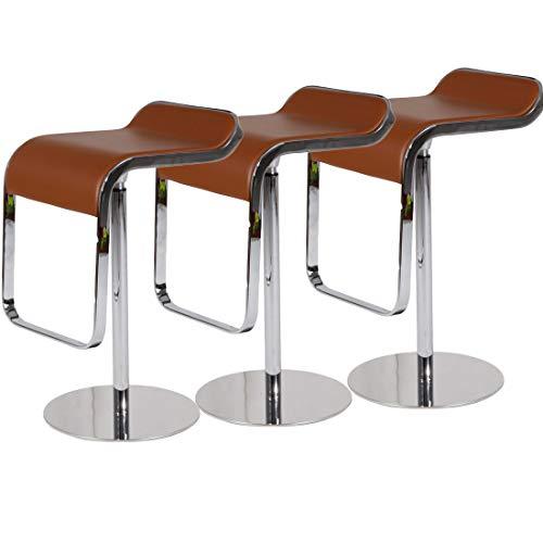 Emorden Furniture LEM Style Piston Bar Stool. Adjustable (27.2″-33.1″) Smooth Hydraulic Piston. 360¡ã Swivel & Spin Smooth, Brown Italian Leather Seat. Sturdy Polished Chrome Steel Frame. (3 Set)