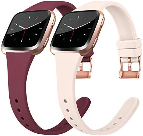Tobfit Silicone Slim Bands Compatible for Fitbit Versa Lite SE, Narrow Thin Sport Wristband with Metal Buckle for Women Men