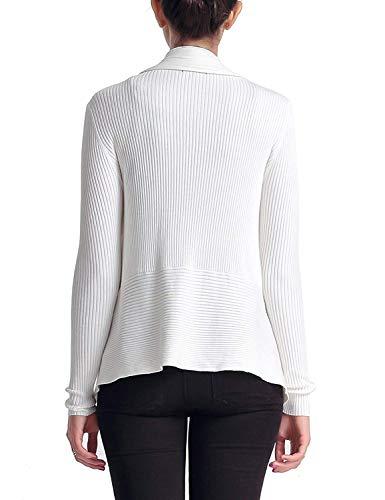 Casuale Di Moda Bianca Fashion Grazioso Eleganti Giacca Colore Outerwear Manica Puro Confortevole Cappotto Lunga Stlie A Donna Maglia zTqw7PF