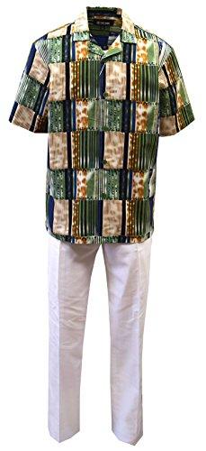 Stacy Adams Men's Linen Print Shirt & Pant Set-Multi Stripes Pattern (3XL/44, OLV-Wht)