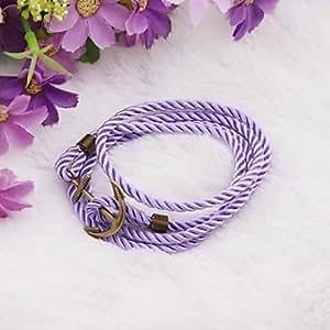 Ancla de la vendimia de la PU pulsera hecha a mano de color púrpura