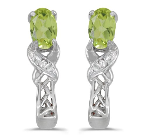(0.38 Carat (ctw) 14k White Gold Oval Green Peridot and Diamond Infinity Weave Pattern Stud Earrings with Post with Friction Back (5 x 3)