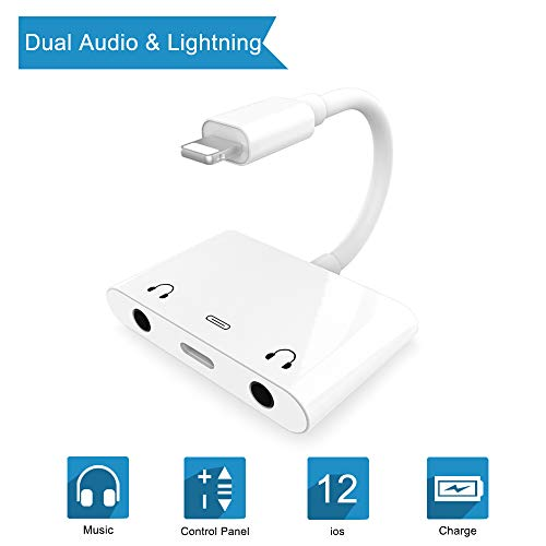 3 in 1 Dual DC3.5mm Audio + Charging Adapter - Audio Charging Converter / Splitter - Earphone Jack Audio Charger / Cable For iphone x 8 8plus 7 7plus 6 6plus For ipad Air / Pro -Support IOS11.2-White
