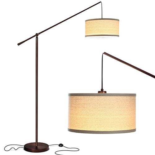 Brightech Hudson 2 - Living Room LED Arc Floor Lamp For Behind the Couch - Pole Hanging Light To Stand Up Over the Sofa - with LED Bulb- Oil Rubbed Bronze