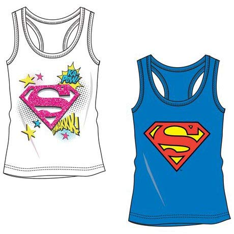 DC Comics Superman Girls Tank Top T-Shirt (Blue, 8 Years)
