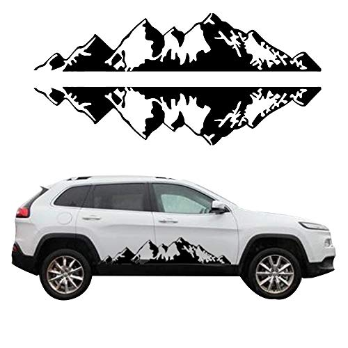 (giftcity Car Decals- 1 Set Mountain Decal -Car Sticker Decals, Car Decal Vinyl Car Body Decal for Car/Truck/SUV/Jeep Wrangler, Universal Scratch Hidden Car Stickers (Black))