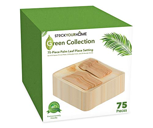 Eco Palm Leaf Plates with Wooden Cutlery (75 Pieces) Biodegradable Eco Friendly Bamboo Like Plates - 25 Square 10 Inch Plates with 25 Wood Forks, 25 Wood Knives - Rustic Theme Wedding Party Dinnerware