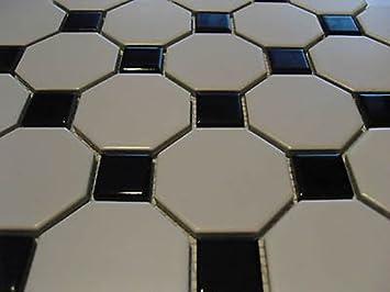 FLIESENTOPSHOP Qm Mosaik Fliesen Keramik Octagon Weiß Schwarz - Weiße fliesen 10x10