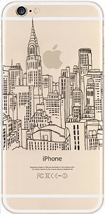 iPhone 7, Colorful Rubber Flexible Silicone Case Bumper for Apple Clear Cover - New York City Black Sketch (Village Parade Halloween 2017)