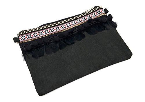 Oh My Shop - Cartera de mano de Material Sintético para mujer Negro negro Taille Unique