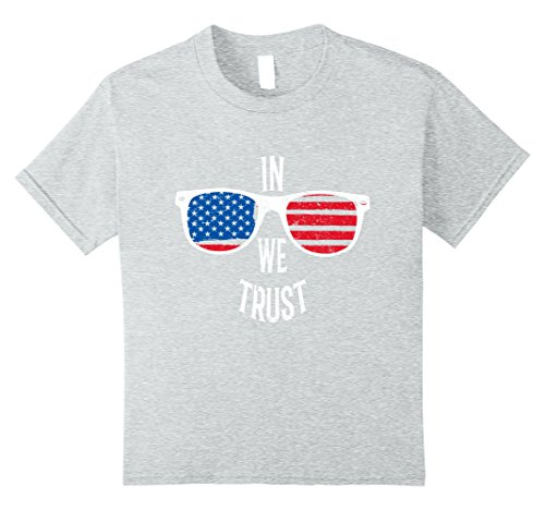 Unisex Child In Independence We Trust American Flag Glasses July 4 Shirt 8 Heather Grey
