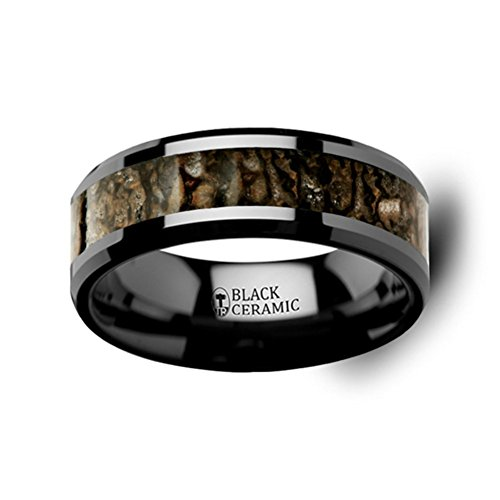 Thorsten Silurian Brown Earthtones Dinosaur Bone Inlay on Black Ceramic Wedding Band Beveled Edged Ring 8mm from Roy Rose Jewelry