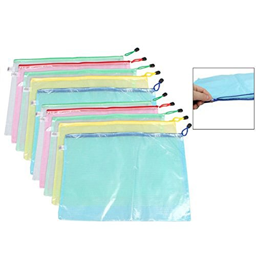 5 Pieces Waterproof Mesh Style Zipper Document Bags File Bags Stationery Storage Folders Office Document Cash Coin Organizer(A3) by luzen (Image #1)'