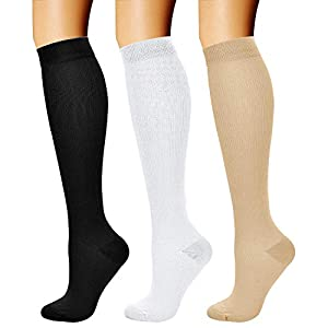 CHARMKING Compression Socks for Women & Men Circulation (3 Pairs)15-20 mmHg is Best Support for Athletic Running Cycling