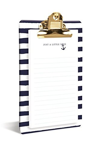 Graphique Navy Anchor Clipboard, Highly-Durable and Sturdy Re-Useable Charming Blue & White Striped Board, Includes Matching 80 Page''Just A Little Note'' Pad, 6'' x 10'' x 0.75'' by Graphique