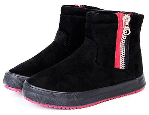 Summerwhisper Mujeres Antideslizante De Imitación De Gamuza Plataforma Lateral Con Cremallera Tobillo High Sneakers Fleece Forrado Corto Botas De Nieve Negro
