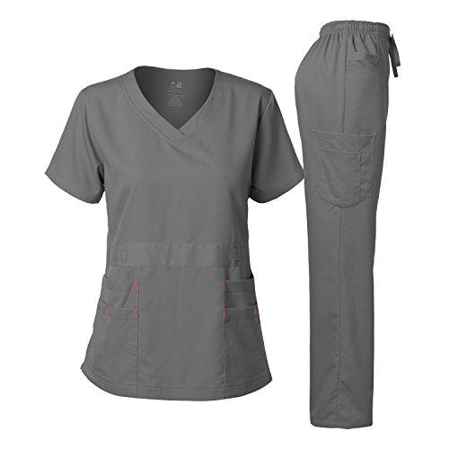 Dagacci Medical Uniform Women's Scrubs Set Stretch Ultra Soft Top and Pants (M, Petwer Gray)
