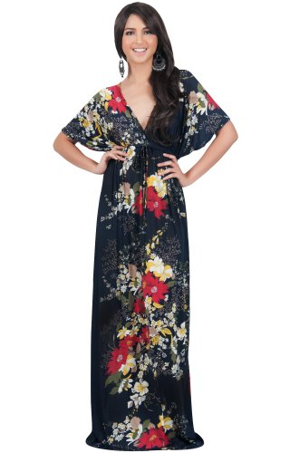 Dress Sleeve Kimono Empire Blue (KOH KOH Plus Size Womens Long Summer Floral Flower Print Sexy Kaftan Caftan Beach Casual Flowy Hawaiin Sun Cover-up Sundress Sundresses Gown Gowns Maxi Dress Dresses, Navy Blue 2 X 18-20 (2))