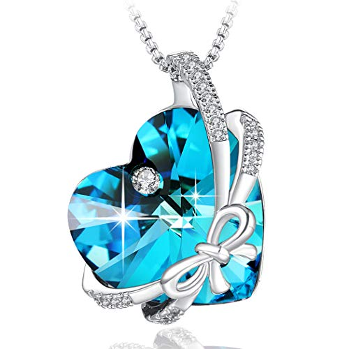 PLATO H Swarovski Element Necklace Butterfly Heart Crystal Pendant Necklace for Women, Ocean Blue Heart Bow Tie Necklace, Women Fashion Bowknot Crystal Pendant Necklace, Heart Butterfly Necklace