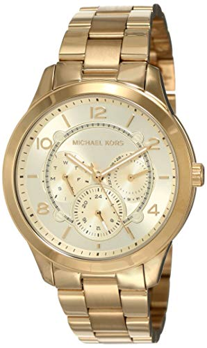 Michael Kors Women's Runway Quartz Watch with Stainless-Steel-Plated Strap, Gold, 18 (Model: MK6588)