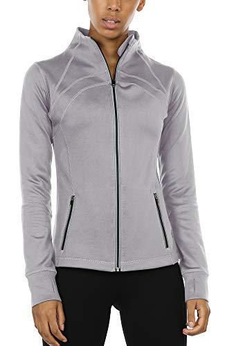 icyzone Women's Running Shirt Full Zip Workout Track Jacket with Thumb Holes (M, - Lightweight Jacket Running