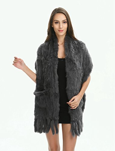 Ferand Women's Knitted Real Rabbit Fur Warm Shawl Scarf with Tassels for Winter, One size, Dark grey by Ferand (Image #3)