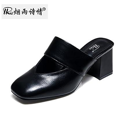 KPHY Tacones Medios Cool Zapatillas Verano Zapatos De Mujer Baotou Medio Tacón Zapatillas Zapatos De Mujer