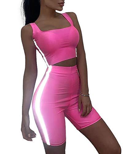 gagaopt Women Tracksuit Sweatsuit Sport Yoga Set Outfit Jogging 2 Piece Pink