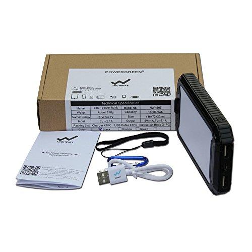 powergreen Cargador Solar Power Bank con linterna 32LED 10000mAh energía Solar banco USB Dual batería externa unidades para 5V dispositivos móviles digitales Black-10000mAh