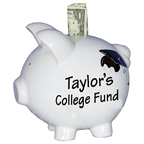 Hand Painted Personalized College Fund Piggy Bank Savings Banks for baby, kids, graduation by MyBambino