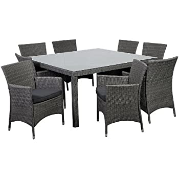 rattan indoor dining table and chairs wicker patio with glass top piece grand new liberty deluxe square set grey cushions