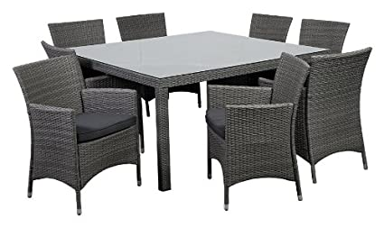 Atlantic 9 Piece Grand New Liberty Deluxe Square Wicker Dining Set, Grey  Cushions