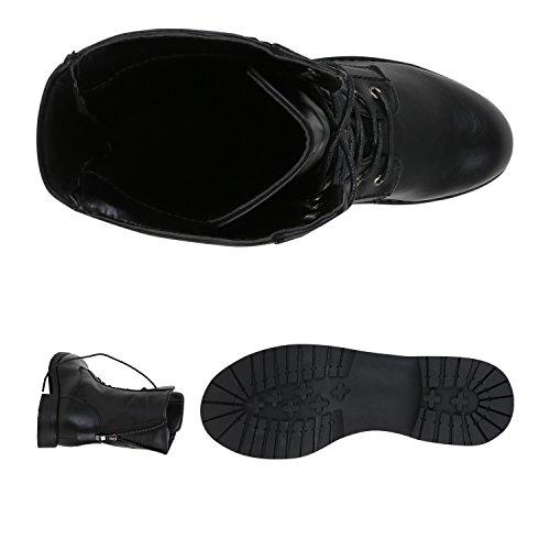 Stiefelparadies Damen Stiefeletten Worker Boots Spitze Stiefel Schuhe Flandell Schwarz Brooklyn Black